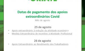 Datas de pagamento dos apoios extraordinários Covid
